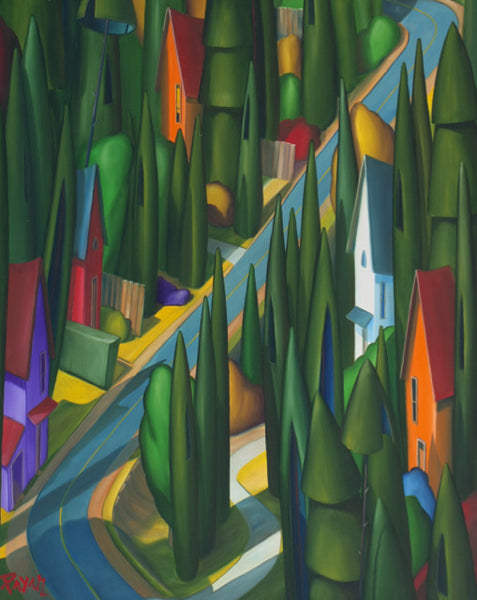 Glenn Payan artwork 'HOMES ON A HILL' available at Canada House Gallery - Banff, Alberta