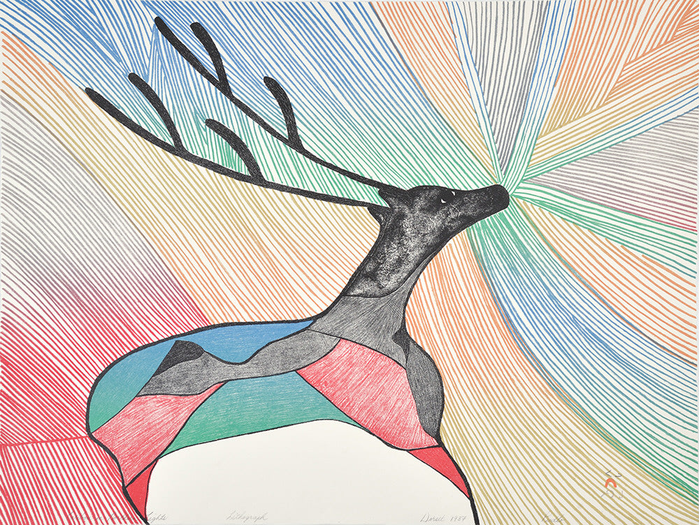 Pudlo Pudlat artwork 'CARIBOU IN NORTHERN LIGHTS, 1987,  6/50' available at Canada House Gallery - Banff, Alberta