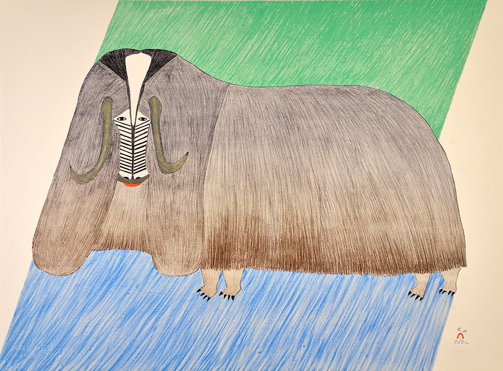 Pudlo Pudlat artwork 'FORMIDABLE MUSKOX, 1985, 6/50' available at Canada House Gallery - Banff, Alberta
