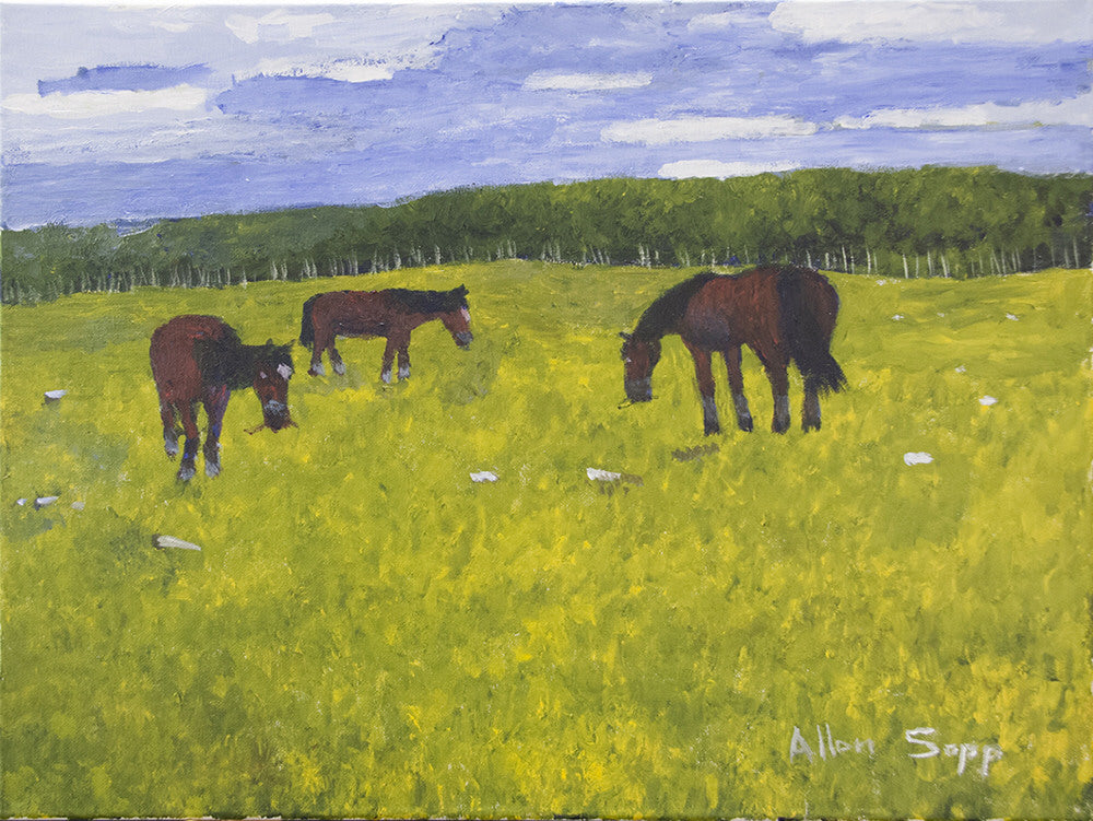 Allen Sapp artwork 'UNTITLED - THREE HORSES  CIRCA 2000'S' available at Canada House Gallery - Banff, Alberta
