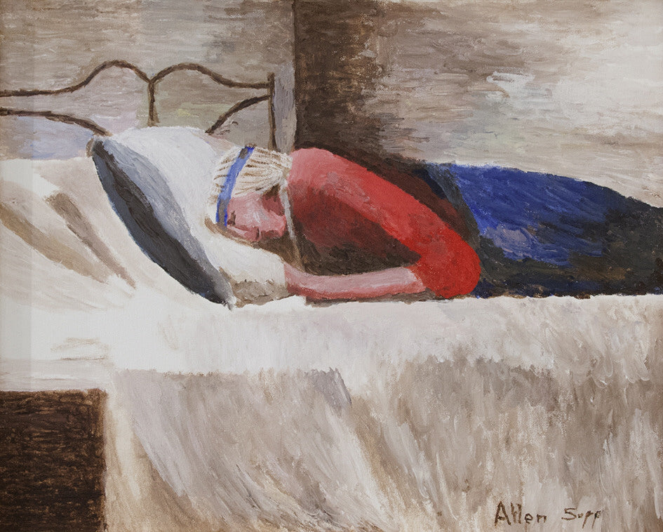 Allen Sapp artwork 'UNTITLED - NOOKUM RESTING' available at Canada House Gallery - Banff, Alberta