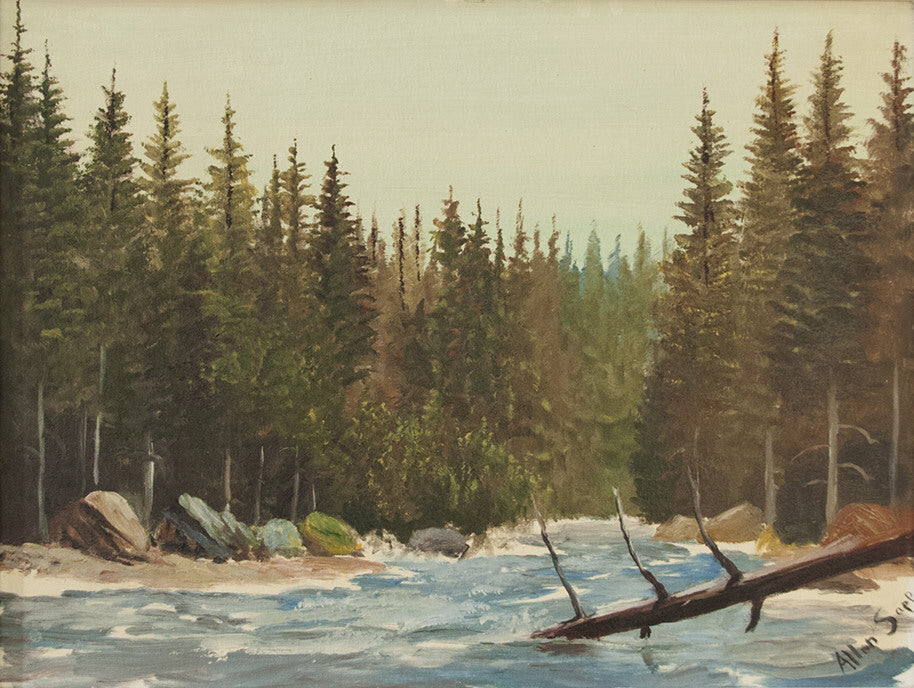 Allen Sapp artwork 'UNTITLED - RIVER  CIRCA 1970'S' available at Canada House Gallery - Banff, Alberta