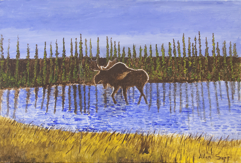Allen Sapp artwork 'UNTITLED - MOOSE  CIRCA MID 2000'S' available at Canada House Gallery - Banff, Alberta