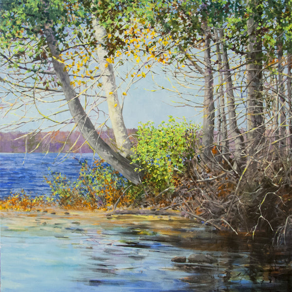 Bev Rodin artwork 'FOREST LIGHT SERIES - SMALL BEACH' available at Canada House Gallery - Banff, Alberta