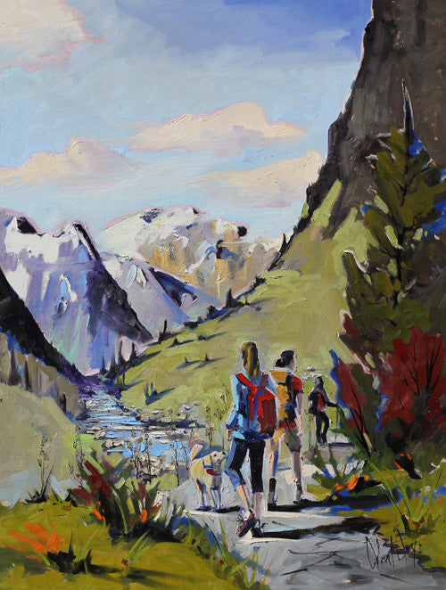 Robert Roy artwork 'RANDONNÉE DANS L'OUEST CANADIEN' available at Canada House Gallery - Banff, Alberta