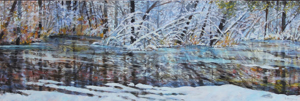 Bev Rodin artwork 'RUGGED WINTER SHORE' available at Canada House Gallery - Banff, Alberta