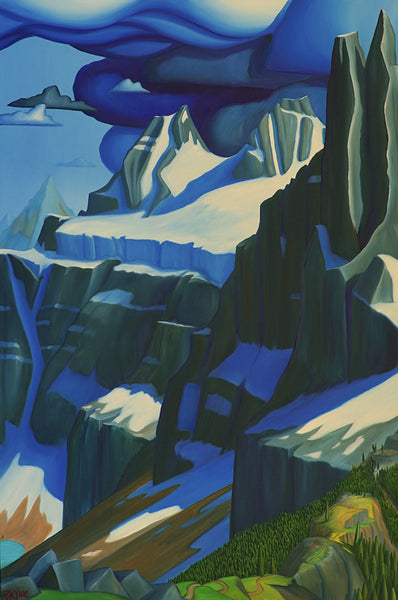 Glenn Payan artwork 'DESCENT FROM THE TOWER OF BABEL' available at Canada House Gallery - Banff, Alberta