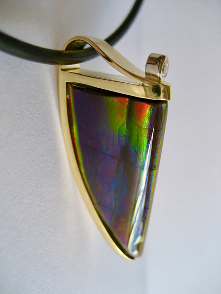 "Susan Kun artwork 'AMMOLITE ""TOOTH"" & DIAMOND PENDANT' available at Canada House Gallery - Banff, Alberta"
