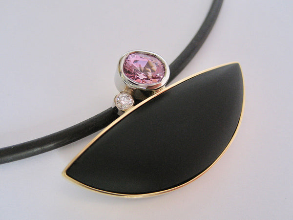Susan Kun artwork 'BLACK ONYX SLICE & PINK SPINEL PENDANT' available at Canada House Gallery - Banff, Alberta