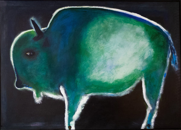 Jimmy Wright artwork 'UNTITLED - GREEN BISON  1993' available at Canada House Gallery - Banff, Alberta