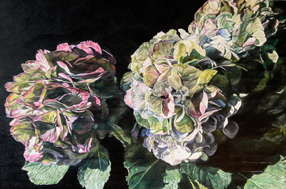 Robert Lemay artwork 'ANTIQUE HYDRANGEAS' available at Canada House Gallery - Banff, Alberta