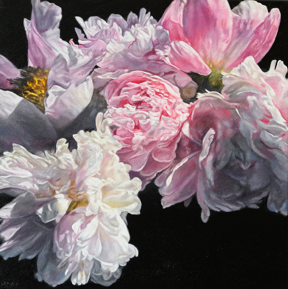Robert Lemay artwork 'SUMMER PEONIES' available at Canada House Gallery - Banff, Alberta