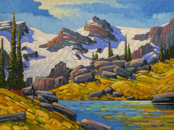Rod Charlesworth artwork 'AUGUST LIGHT, PREMIER MOUNTAINS' available at Canada House Gallery - Banff, Alberta