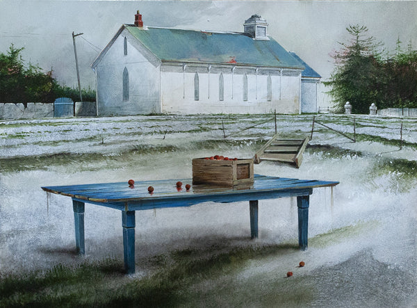 Mark Fletcher artwork 'LAST CRATE OF APPLES' available at Canada House Gallery - Banff, Alberta