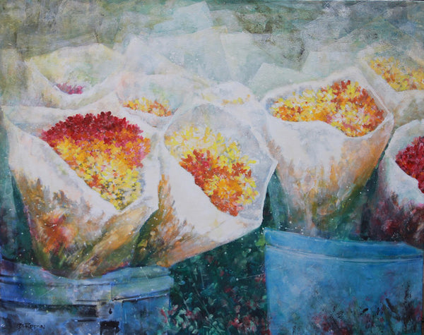 Bev Rodin artwork 'FLOWER MARKET III' available at Canada House Gallery - Banff, Alberta