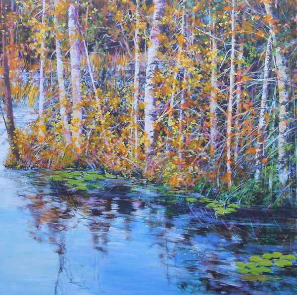 Bev Rodin artwork 'FOREST LIGHT SERIES - LORIMER LAKE ROAD' available at Canada House Gallery - Banff, Alberta