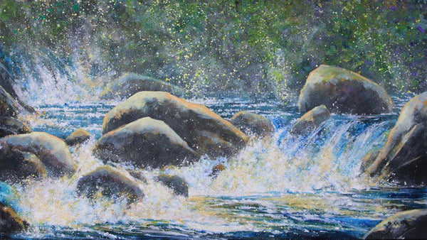 Bev Rodin artwork 'EFFERVESCENCE, SAND RIVER' available at Canada House Gallery - Banff, Alberta