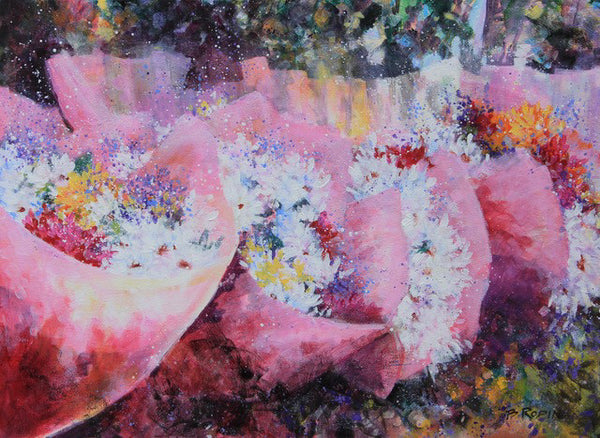 Bev Rodin artwork 'FLOWER MARKET IV' available at Canada House Gallery - Banff, Alberta