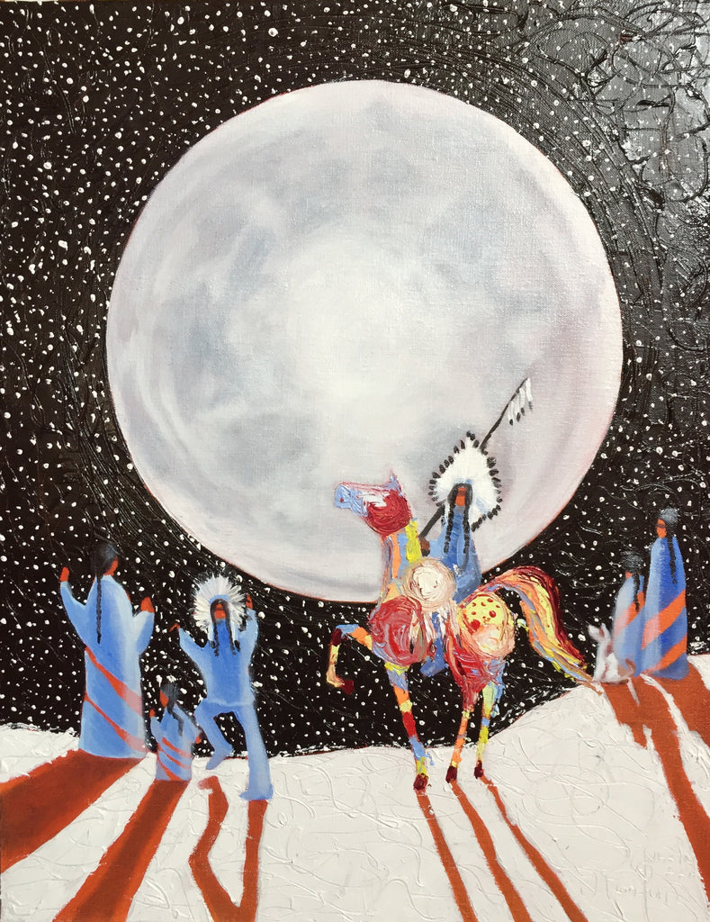 Janice Iniskim-Aki Tanton artwork 'IT'S A WONDERFUL NIGHT FOR A MOONDANCE' available at Canada House Gallery - Banff, Alberta