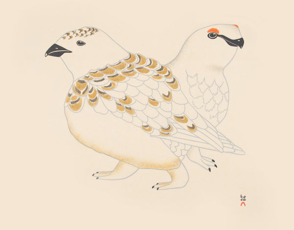 Kananginak Pootoogook artwork 'ROCK PTARMIGAN, 1997, 14/50' available at Canada House Gallery - Banff, Alberta