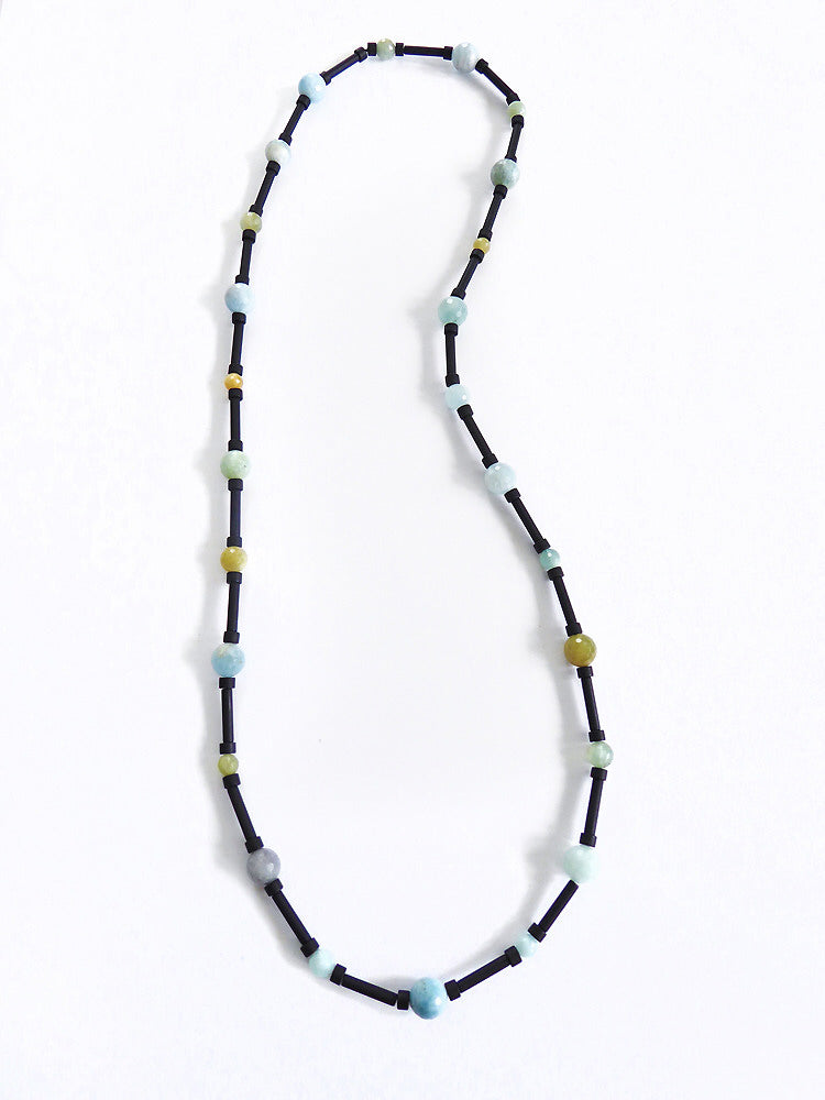 "NESHKA artwork 'FACETED AQUAMARINE & ONYX ""SATELLITE"" NECKLACE' available at Canada House Gallery - Banff, Alberta"