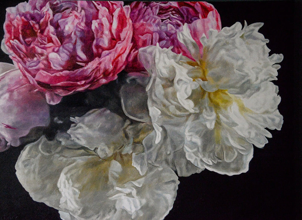 Robert Lemay artwork 'MAGENTA AND WHITE PEONIES' available at Canada House Gallery - Banff, Alberta