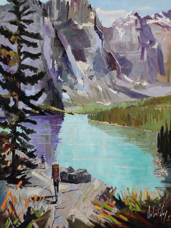 Robert Roy artwork 'LES BIENFAITS DE LA MARCHE' available at Canada House Gallery - Banff, Alberta