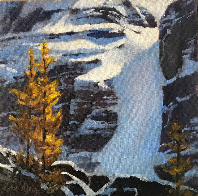 Gaye Adams artwork 'EARLY SNOW AND YELLOW ASPENS (STUDY)' available at Canada House Gallery - Banff, Alberta
