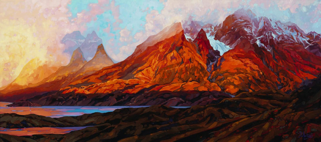 Dominik J Modlinski artwork 'SUNRISE OVER THE TORRES DEL PAINE' available at Canada House Gallery - Banff, Alberta