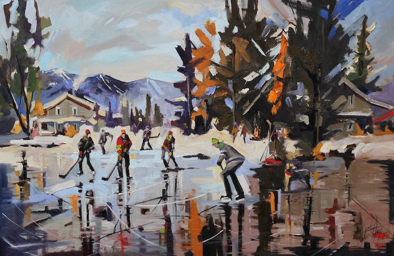 Robert Roy artwork 'L'UNIVERS HOCKEY' available at Canada House Gallery - Banff, Alberta