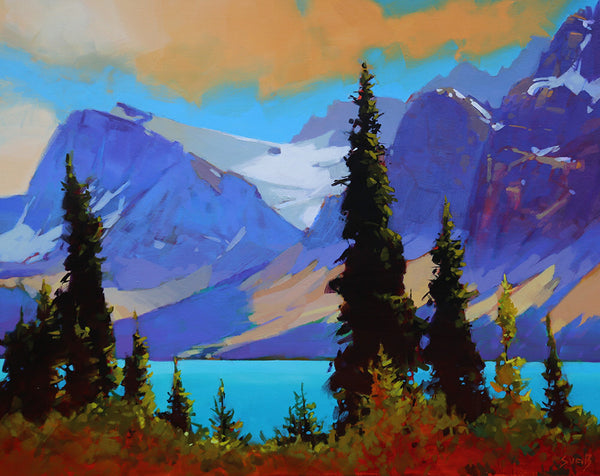 Mike Svob artwork 'SUN ON THE CROWFOOT GLACIER' available at Canada House Gallery - Banff, Alberta