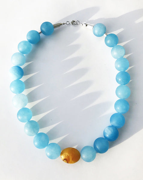 NESHKA artwork 'MATTE AQUAMARINE & AMBER NECKLACE' available at Canada House Gallery - Banff, Alberta