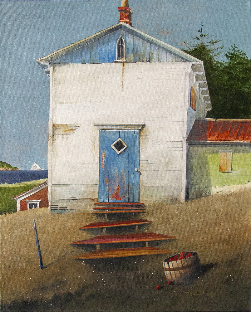 Mark Fletcher artwork 'RED STEPS TO THE HILLSIDE HOUSE' available at Canada House Gallery - Banff, Alberta