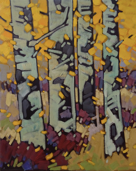 Cameron Bird artwork 'A LIGHT BREEZE - ASPENS' available at Canada House Gallery - Banff, Alberta