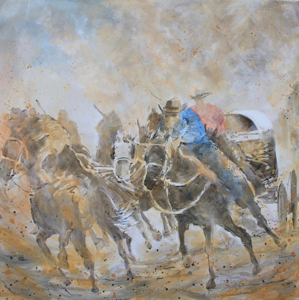 Bev Rodin artwork 'OUTRIDERS, CHUCKWAGONS' available at Canada House Gallery - Banff, Alberta
