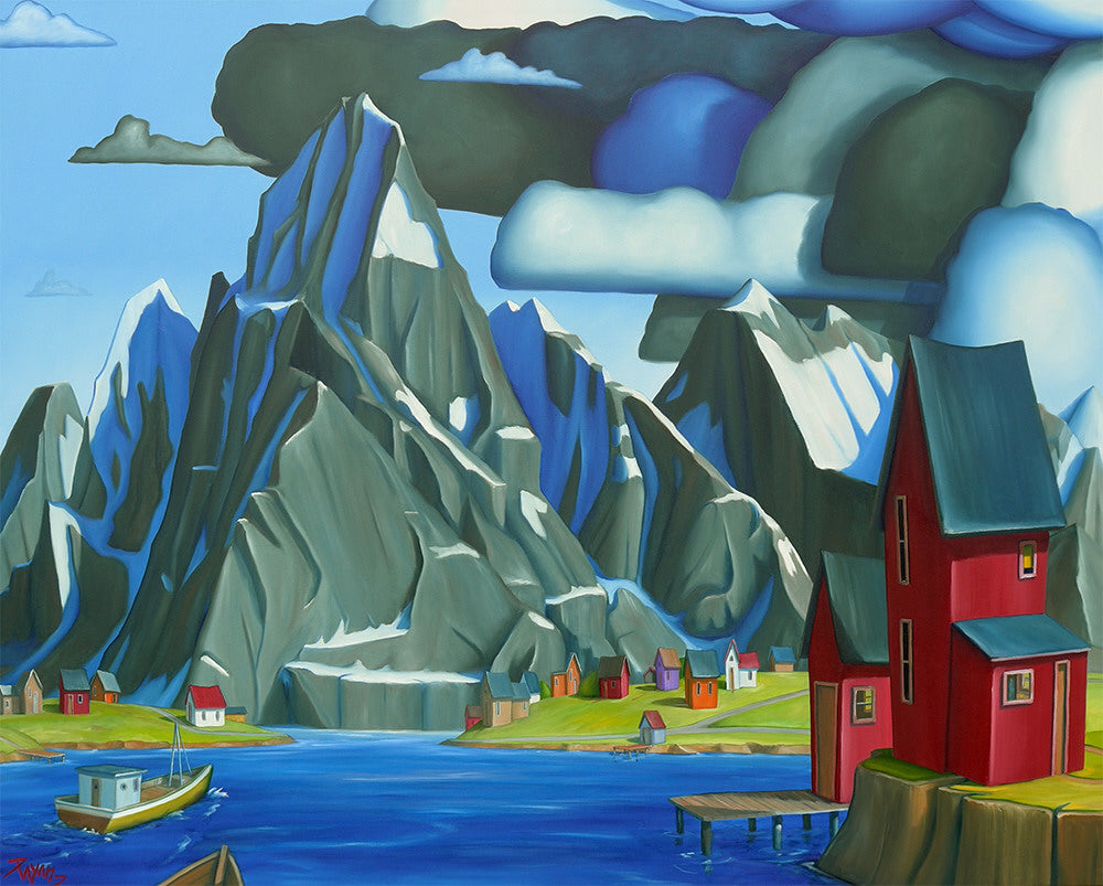 Glenn Payan artwork 'HOME BEFORE THE STORM, REINE, NORWAY' available at Canada House Gallery - Banff, Alberta