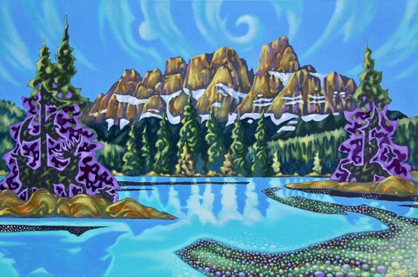 K Neil Swanson artwork 'SLEEPING SPIRIT MOUNTAIN' available at Canada House Gallery - Banff, Alberta