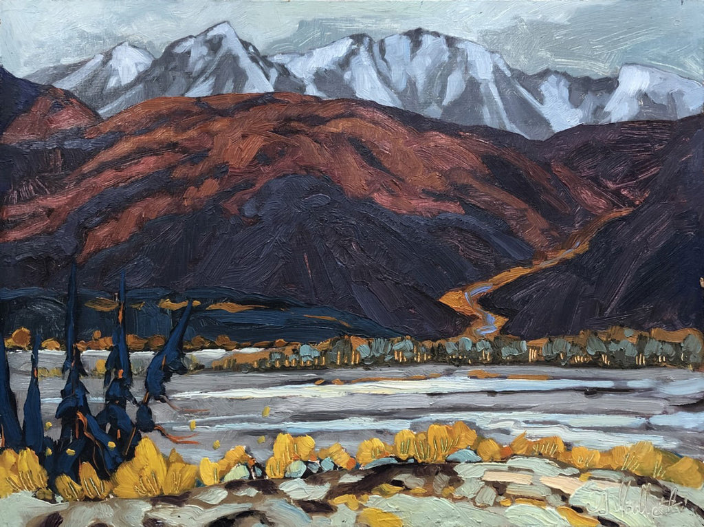 Dominik J Modlinski artwork 'DISTANCE OVER THE RIVER (KLUANE, YUKON)' available at Canada House Gallery - Banff, Alberta