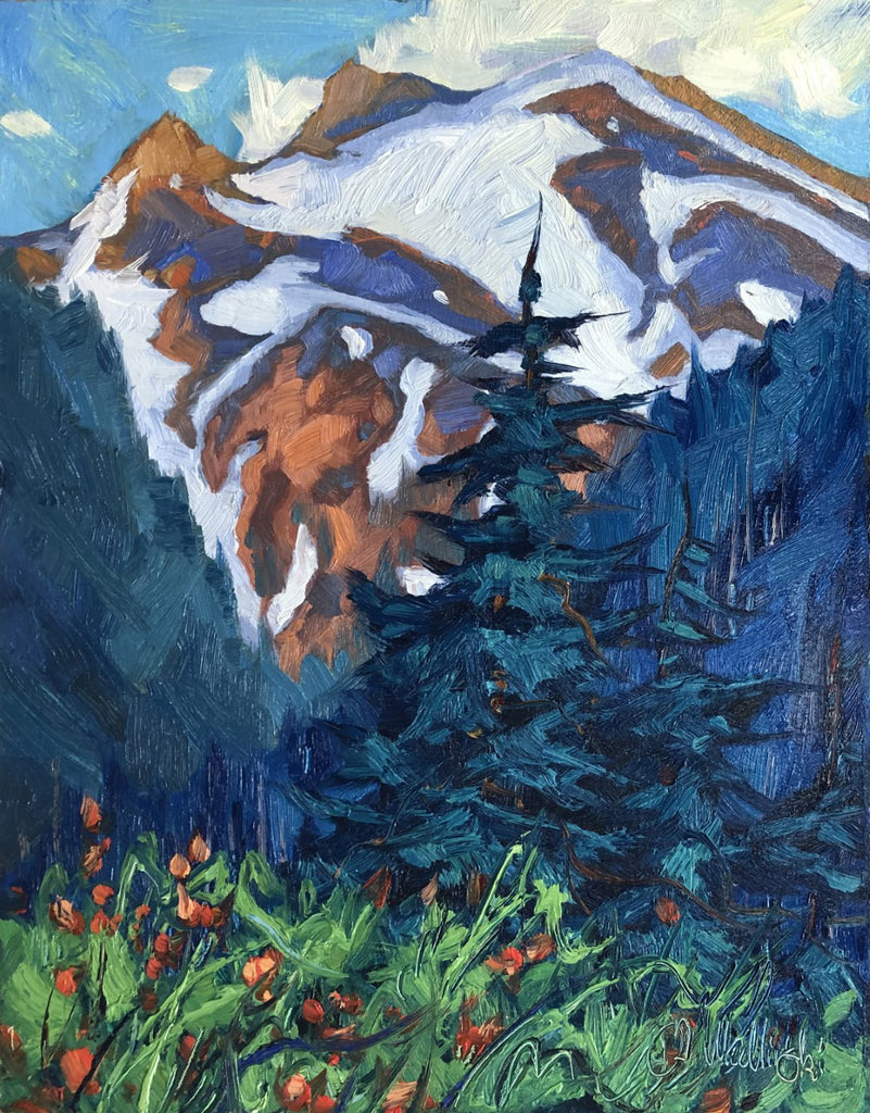 Dominik J Modlinski artwork 'TOWARDS THE SUMMIT (MT. BAKER)' available at Canada House Gallery - Banff, Alberta