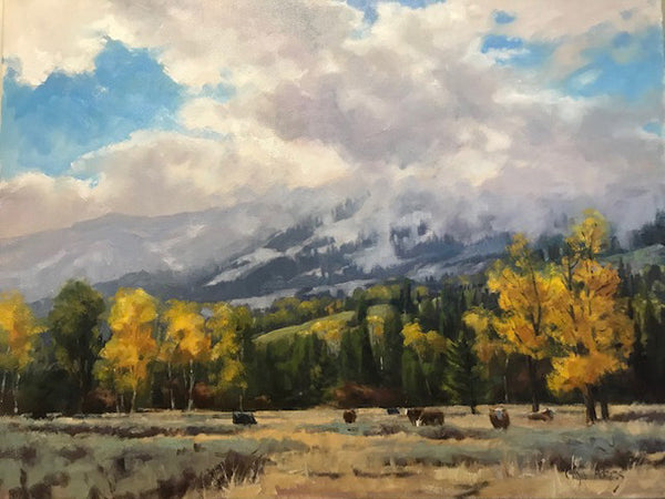 Gaye Adams artwork 'OCTOBER PASTURE' available at Canada House Gallery - Banff, Alberta