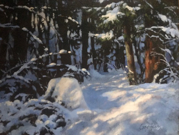 Gaye Adams artwork 'UNEXPECTED SNOWFALL' available at Canada House Gallery - Banff, Alberta