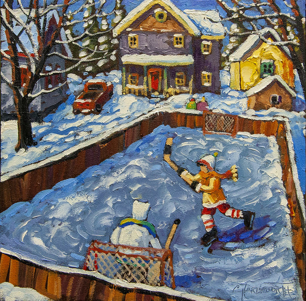 Rod Charlesworth artwork 'THE LITTLE BACKYARD RINK' available at Canada House Gallery - Banff, Alberta