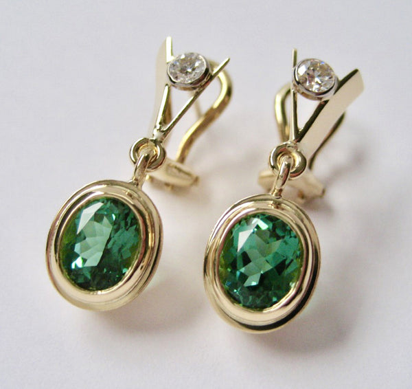 Susan Kun artwork 'ELEGANT SEAFOAM TOURMALINE DROP EARRINGS' available at Canada House Gallery - Banff, Alberta