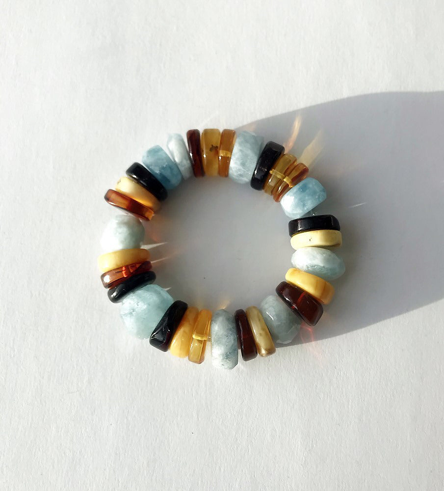 . NESHKA artwork 'AMBER & AQUAMARINE BRACELET' available at Canada House Gallery - Banff, Alberta