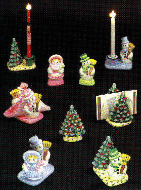 #1451 Hobby Mold - Snowman, Lady, Tree, Light Base, Candle Cup 1ea (No