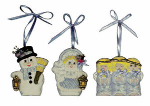 "#1531 3 Ornaments - Mr & Mrs Snowman & Angel  3"" each"