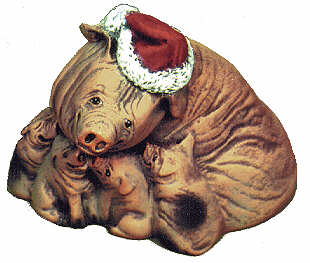 #1617 Christmas Animal Ornaments - Pigs  3 1-4