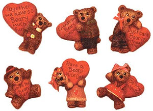 "#1632 Bears W-Hearts Magnet (6 in mold) Embossed  2"" each"