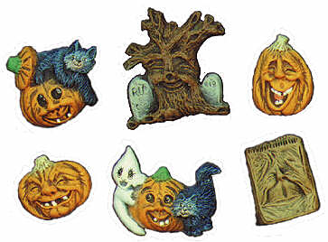 #1676 Halloween Magnets - Wide Pumpkin, Tall Pump, Etc  2