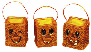 "#1745 Bags with Pumpkin Faces (3 in mold)  2 1-2"" each"